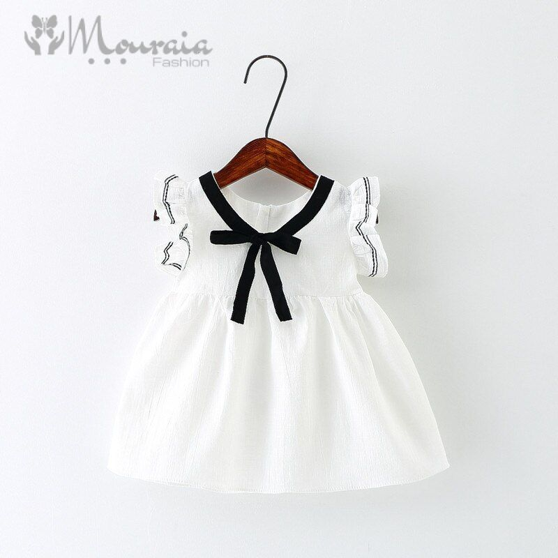 Summer Dress for Toddler Baby Girls with Bow Ruffle Sleeve