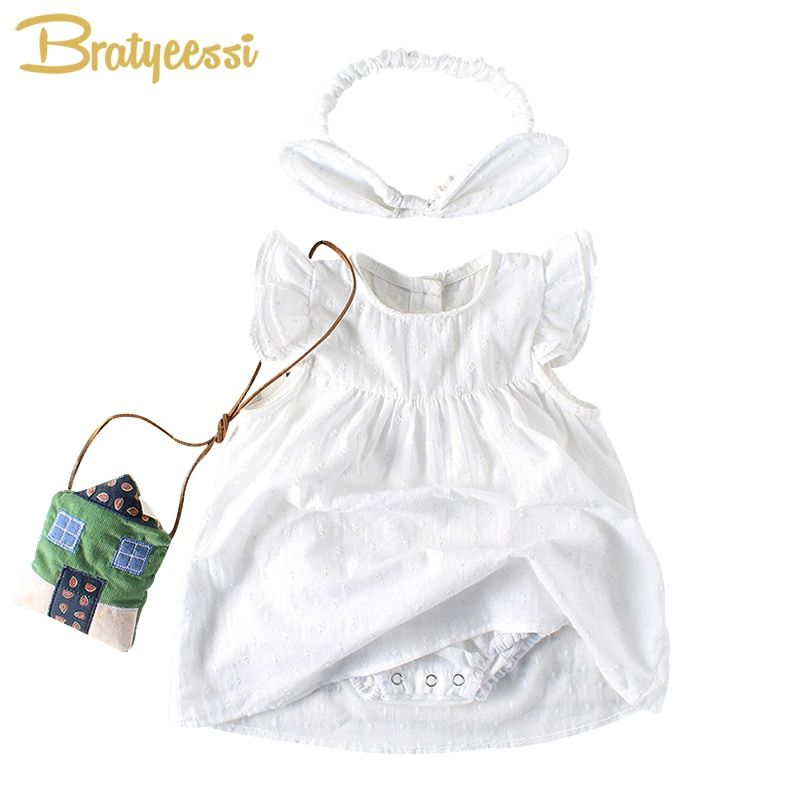 Cute White Princess Baby Dress Cotton Ruffle Sleeve Baptism Christening Dress for Baby Girl First Birthday Party Romper Dresses
