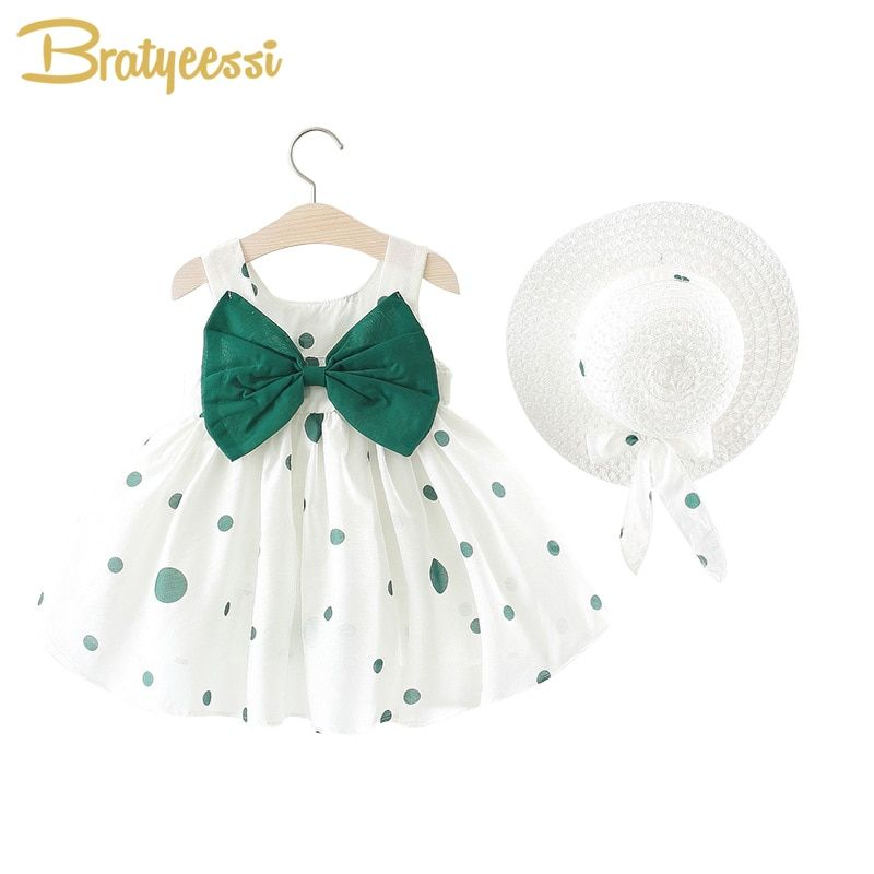 Cute Dot Summer Baby Dress Big Bow Sleeveless Princess Baby Girl Dress with Hat A-Line Cotton Infant Dresses Baby Girl Clothes