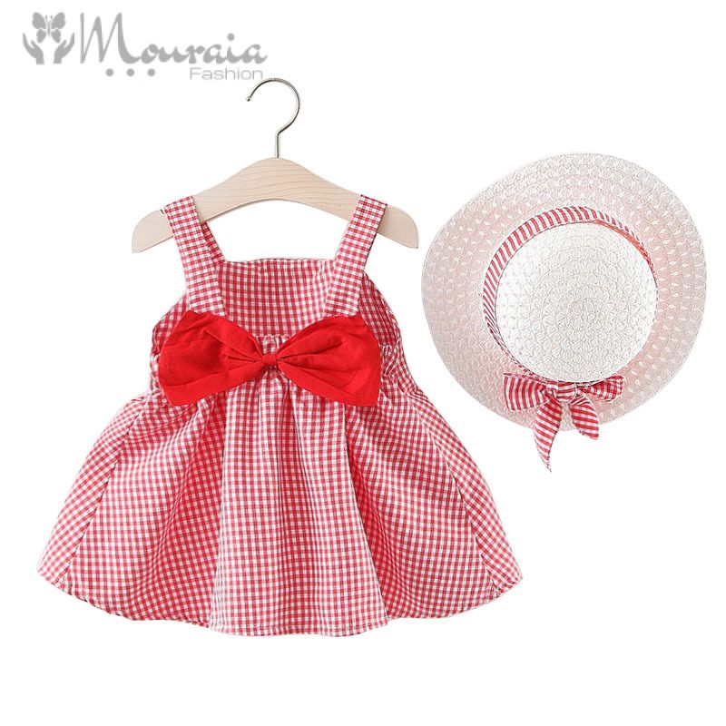 2019 Baby Girl Dress with Hat Big Bow Plaid Cotton Baby Dress Summer A-Line Baby Girl Clothes Princess Kids Dresses for Girls