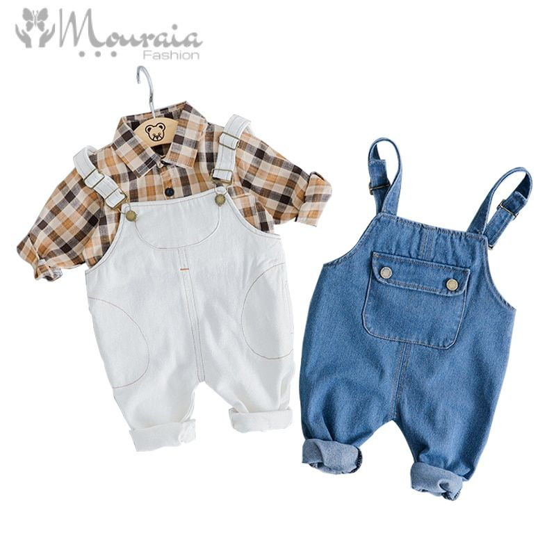 New 2019 Baby Girl Boy Clothes Set Cotton Shirt Blouse and Overalls Kids Clothes Spring Autumn Infant Suit Baby Clothing