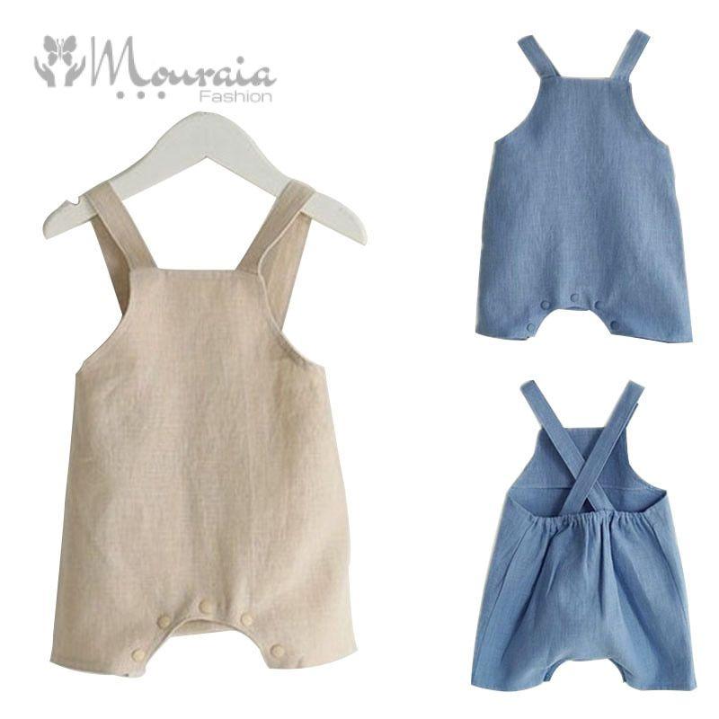 Cotton&Linen Baby Girl Romper Solid Color Suspender Overalls Infant Boy Jumpsuit Baby Clothes M/L 1 PC