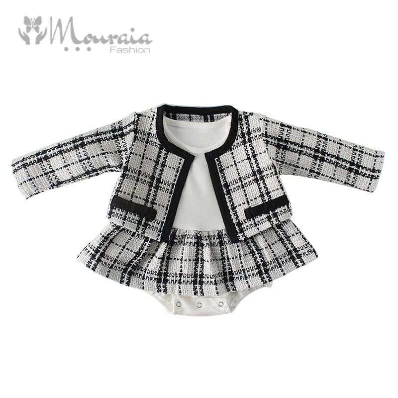 Fashion Baby Rompers for Girls Plaid Infant Jumpsuit Baby Girl Romper with Coat Baby Onesie Toddler Clothes Baby Costume 1 Set