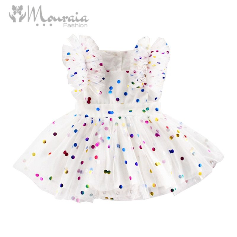 New Dot Baby Girl Dress Summer A-Line 1 Year Birthday Dress Kids Dresses for Girls Clothes Tulle Princess Baby Party Dress