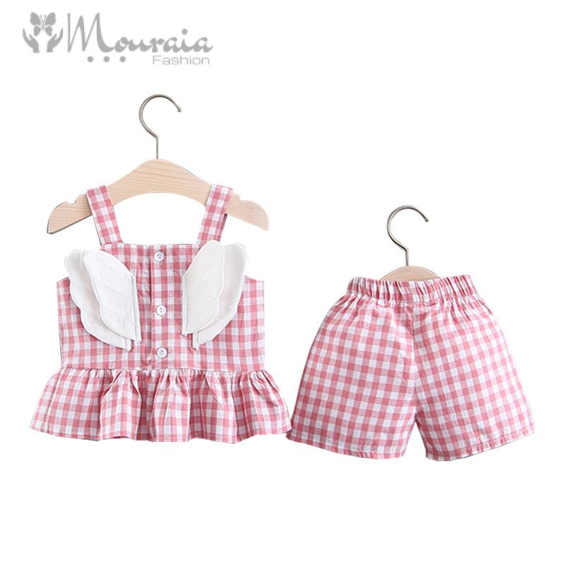 2019 New Baby Girl Clothes Summer Plaid Tops Shorts Baby Girl Outfit with Wings Kids Clothes Suit Baby Girl Set Infant Clothing