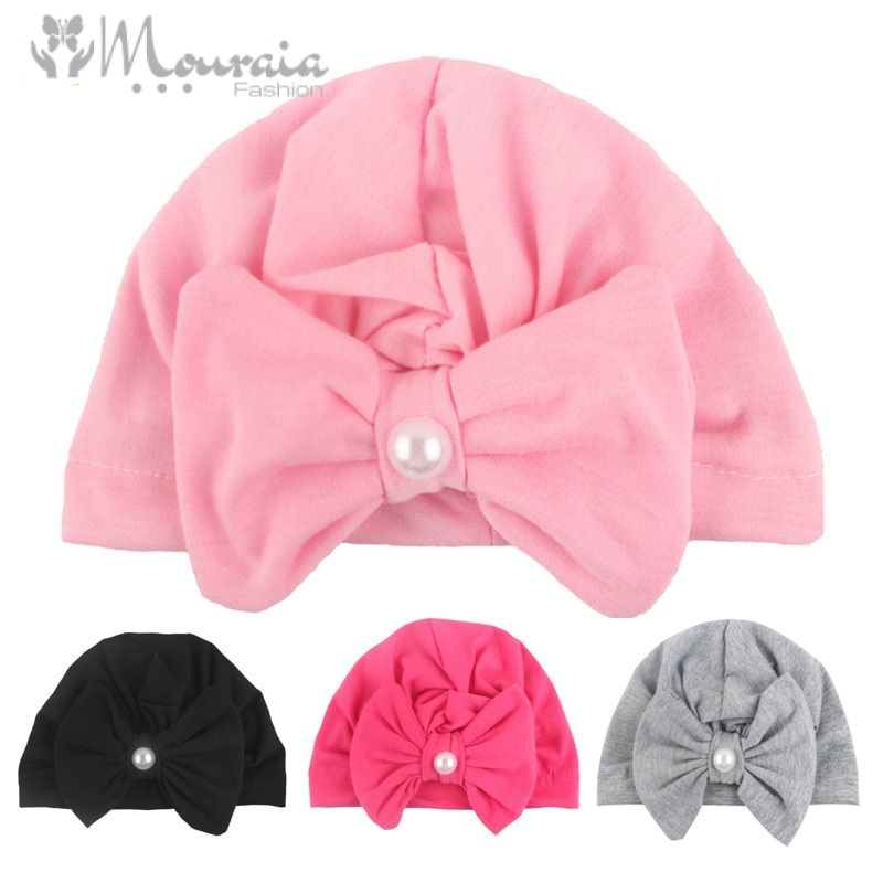Pearls Baby Hat Cotton Kids Beanie Baby Cap for Girls Toddler Turban Hats Newborn Photography Props Infant Accessories
