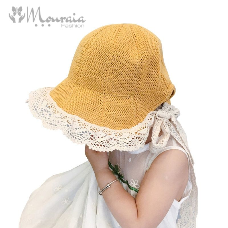 Lace Straw Baby Girl Hat Bow Summer Baby Hat for Girls Adjustable Children Panama Hats Kids Girls Cap 4 Colors