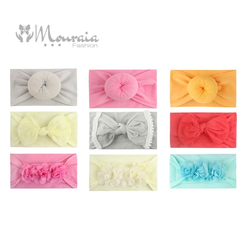 3 Flower Design Elastic Baby Headbands for Baby Girls