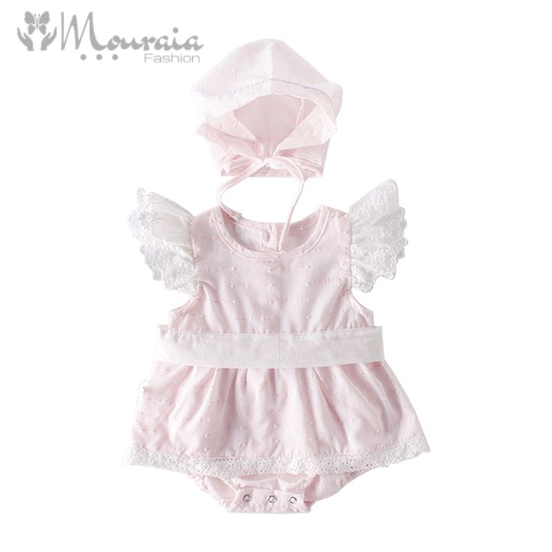 Princess Baby Girl Romper Lace Bow Baby Girl Clothes with Hat Summer Rompers Toddler Jumpsuit Baby Onesie Birthday Costume