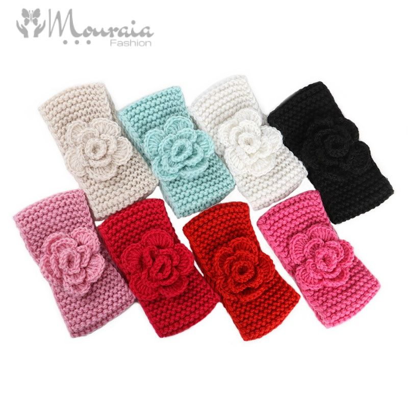 Knitted Flower Baby Headband for Girls Newborn Photograph Props Baby Girl Headbands Baby Hair Accessories Infant Head Bands