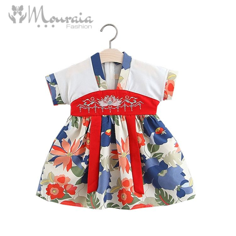 Chinese Style Baby Girl Dress Summer Lotus Embroidery Kids Dresses for Girls Clothes A-Line Floral Baby Dress Infant Clothing