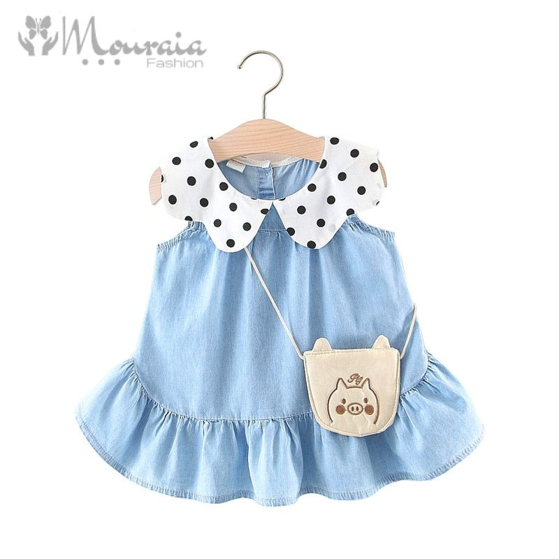 Casual Denim Baby Dress for Girls with Bag Kids Dresses Baby Girl Clothes A-Line Ruffles Cotton Baby Dresses Infant Dress