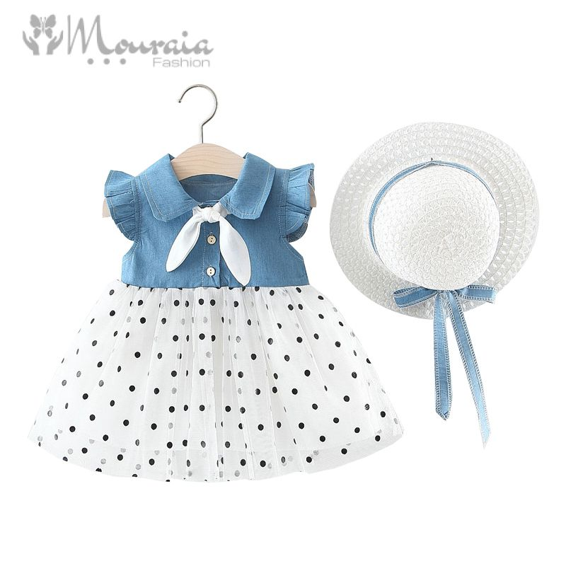New Summer Baby Girls Dress with Hat Bow Kids Dresses for Girls Clothes A-Line Denim Baby Dresses Infant Clothing