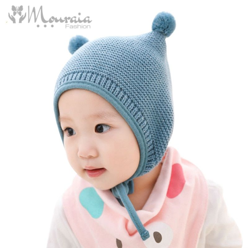 Cute Baby Hat with Pompom Knitted Winter Bonnet Enfant Baby Cap Solid Kids Hats for Boys Girls Accessories 3 Colors