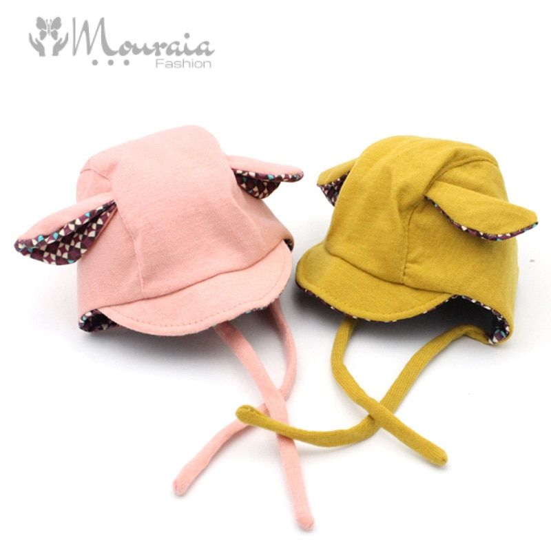 New Cute Rabbit Long Ear Hat Baby Bonnet Kids Girls Boys Baby Hat Photo Props Yellow/Pink for 0-2 Years