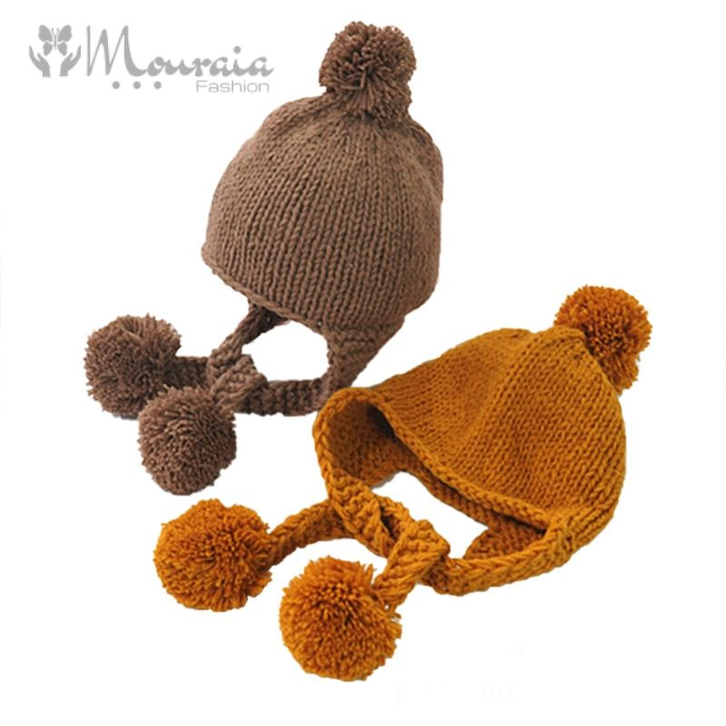 New Winter Baby Hat Pompom Cotton Knitted Baby Cap for Girls Boys Infant Bonnet Kids Cap Baby Accessories 6 Colors