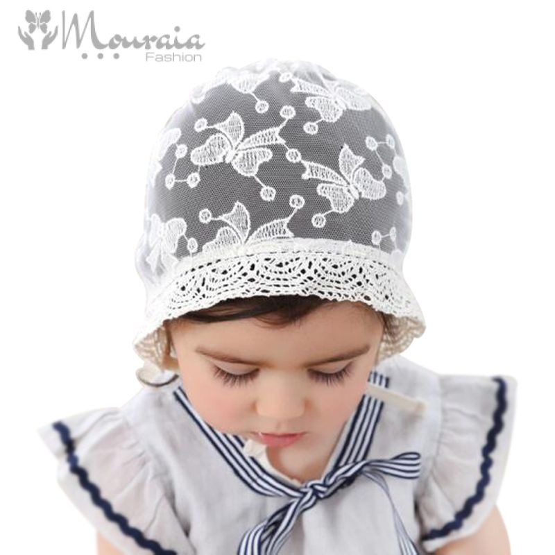 Princess Lace Baby Bonnet Enfant Summer Baby Girl Hat Fotografia White Photography Props for 6-15 Months