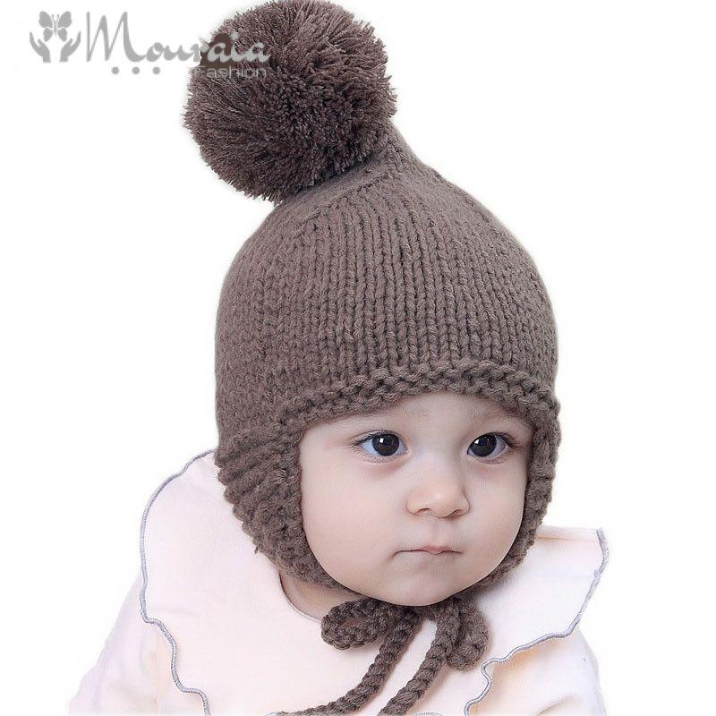 Bratyeessi Knit Baby Cap Winter Warm Baby Hat with Pompom Cotton Newborn Bonnet Enfant Accessory Coffee/Gray