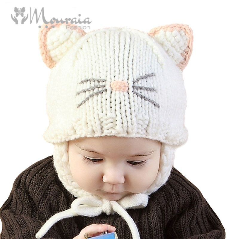 New 2018 Knit Baby Hat with Ears Cartoon Handmade Baby Bonnet Infant Winter Baby Cap Pink/White/Beige for 5-18 Months