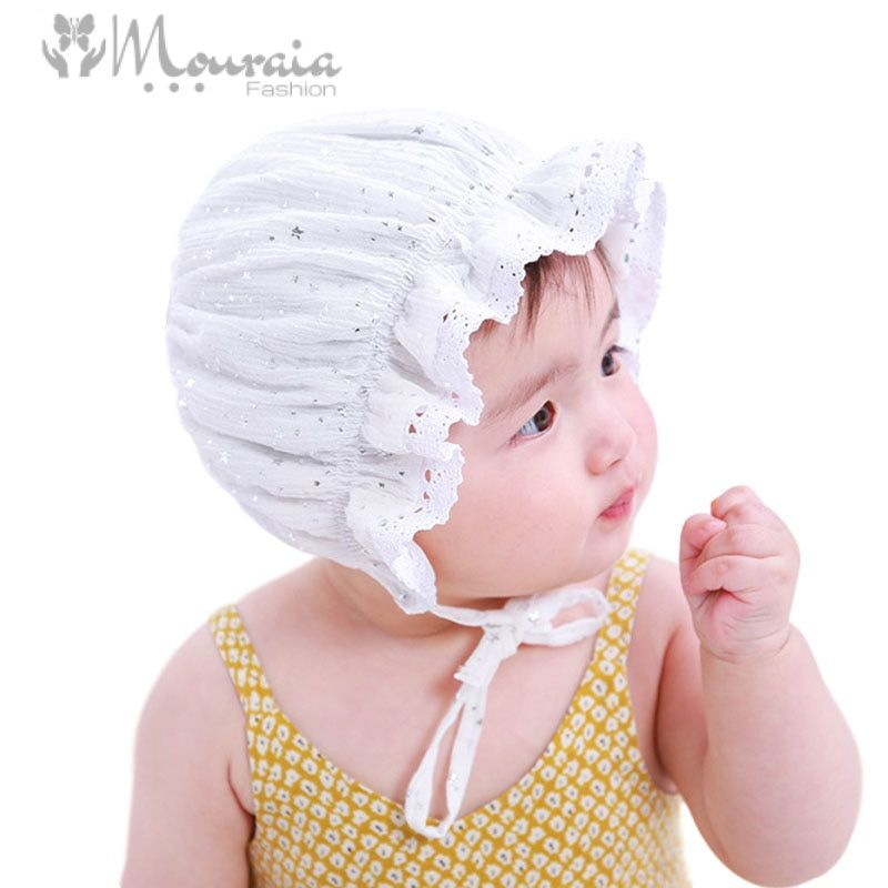 Princess Newborn Baby Girl Hat Lace Sparkling Star Baby Bonnet Enfant Summer Baby Cap for 0-2 Years White/Coffee