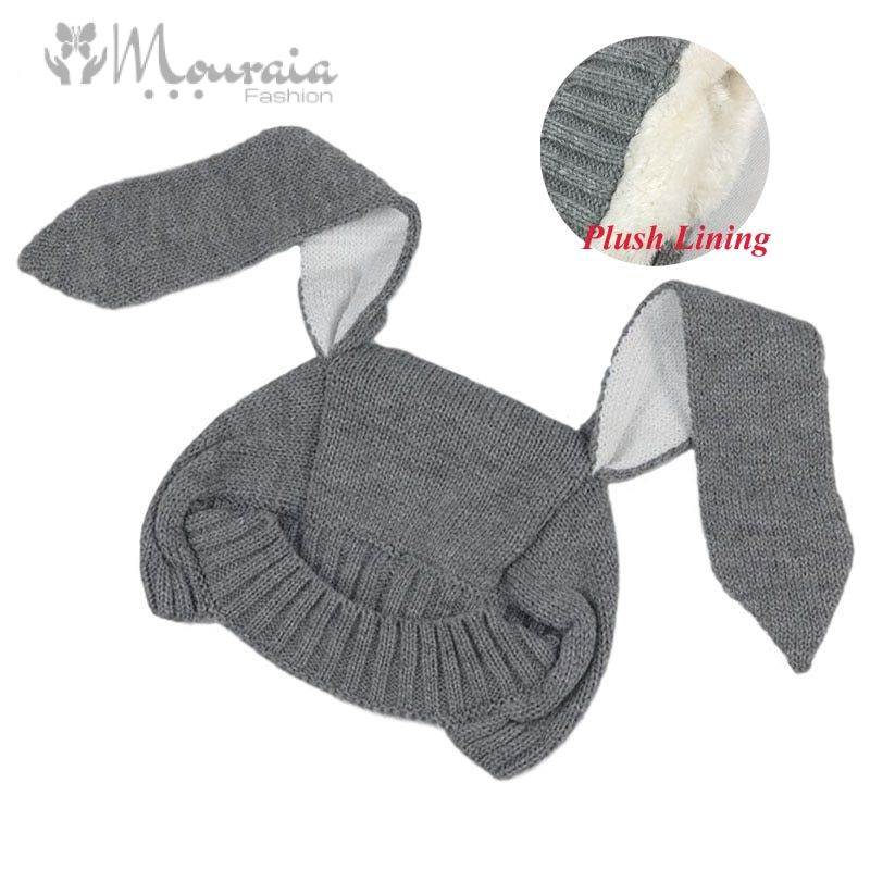 Cute Long Ears Rabbit Winter Baby Hat for Girl Boy Knit Warm Baby Bonnet Kid Cap Photography Props 4 Colors for 1-2 Years 1 PC