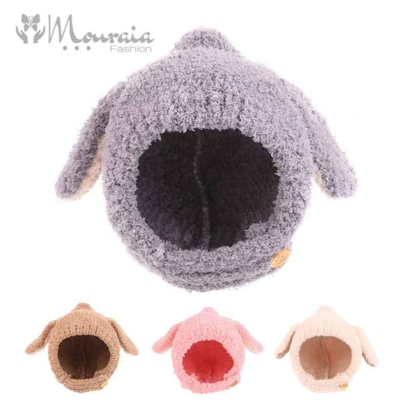 Soft Fleece Baby Hat winter Long Ears Cartoon Bonnet Enfant Accessories Baby Cap Cute Rabbit Warm Winter Hats for Kids 1PC