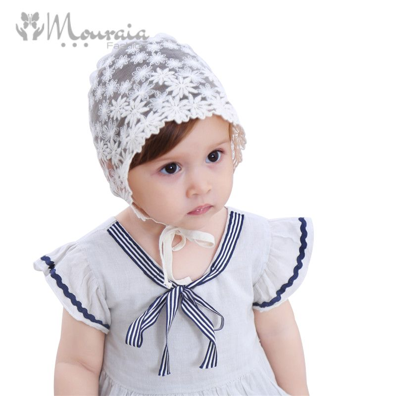 Sweet Flower Baby Girl Hat Photography Props White Lace Summer Baby Bonnet Enfant Cap for 3-18 Months