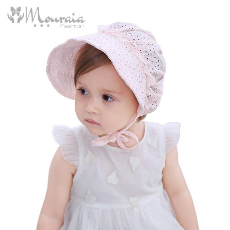 Princess Baby Girl Hat Summer Lace-up Cotton Baby Bonnet Enfant Lace Sun Cap for 0-18M Pink/White