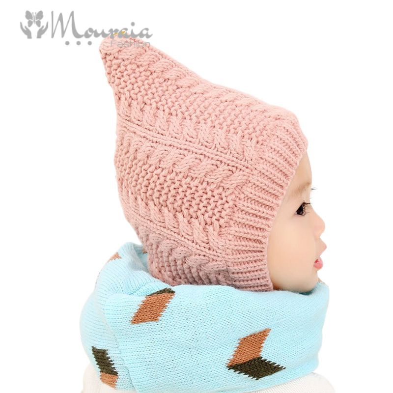 New Baby Hat Winter Knitted Bonnet Enfant Baby Cap Solid Warm Kids Hats for Girls Boys Accessories 3 Colors
