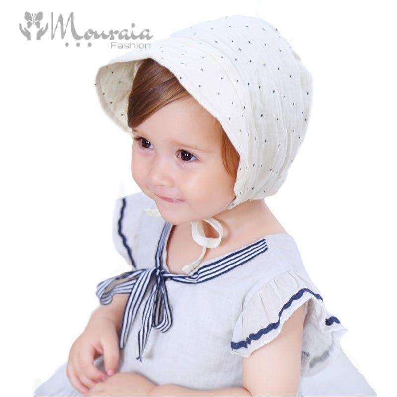 New Dot Cotton Baby Hat Summer Vintage Infant Bonnet Cap for Girls Adjustable Baby Cap for 3-15 Months