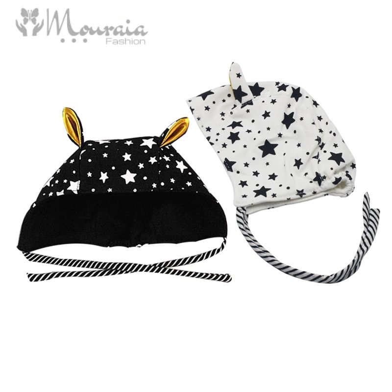 Cute Baby Bonnet Enfant Cotton Long Ears Kids Hat Stars Print Boys Girls Cap for 3-18 Months Black/White