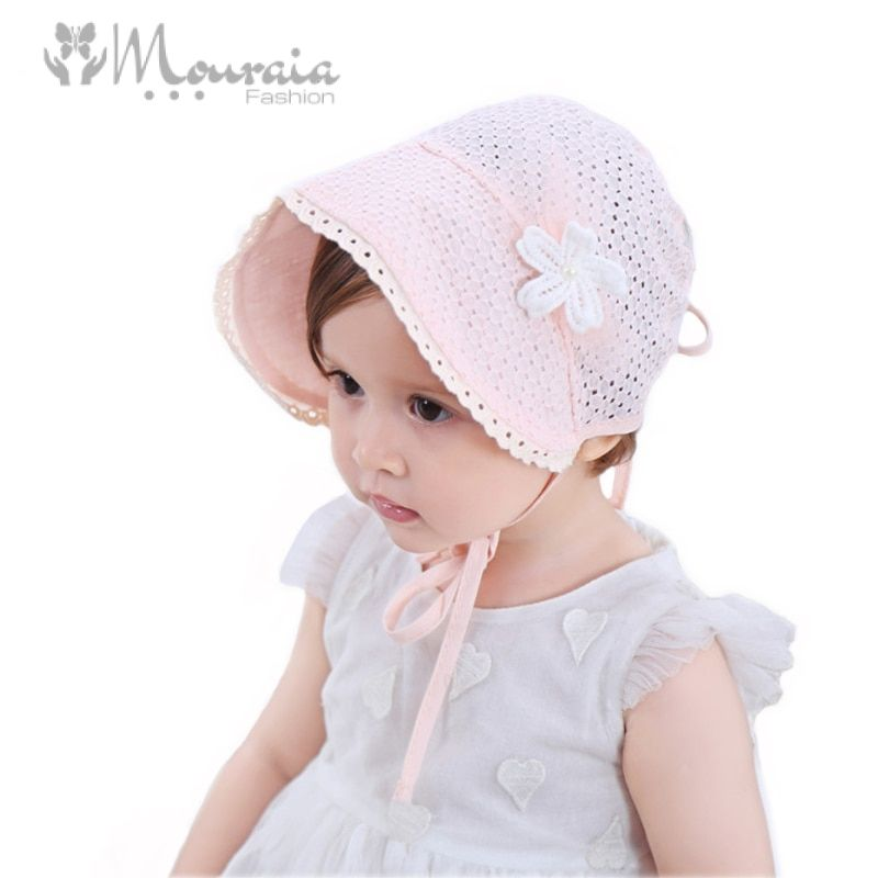 Sweet Princess Baby Girl Hat Summer Lace-up Beanie Pink/White Cotton Bonnet Enfant for 4-24M