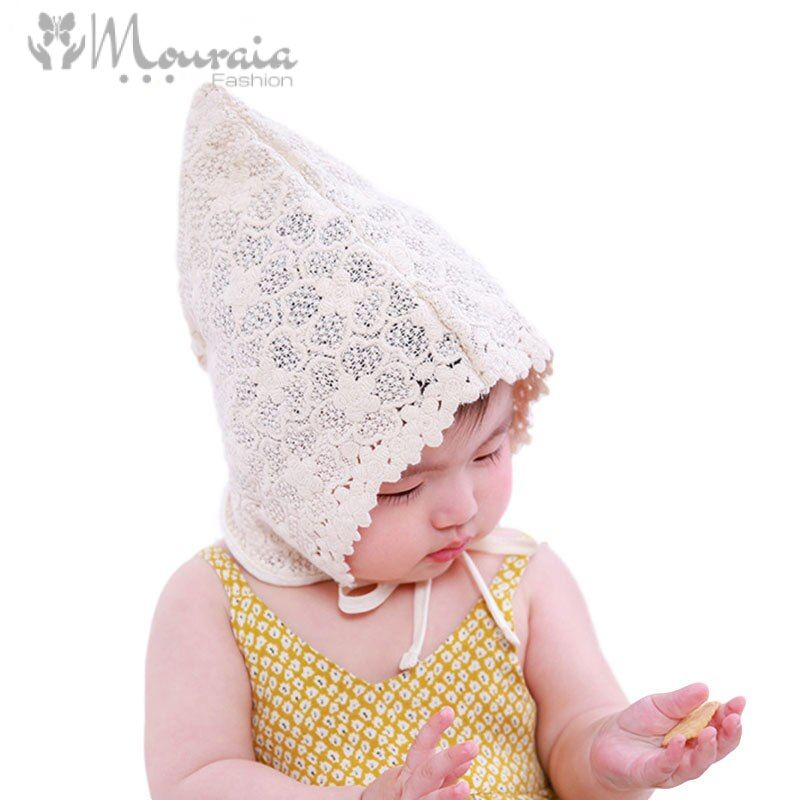 New Lace Summer Baby Hat for Girls Lace-Up Steeple Baby Bonnet Enfant Princess Cap
