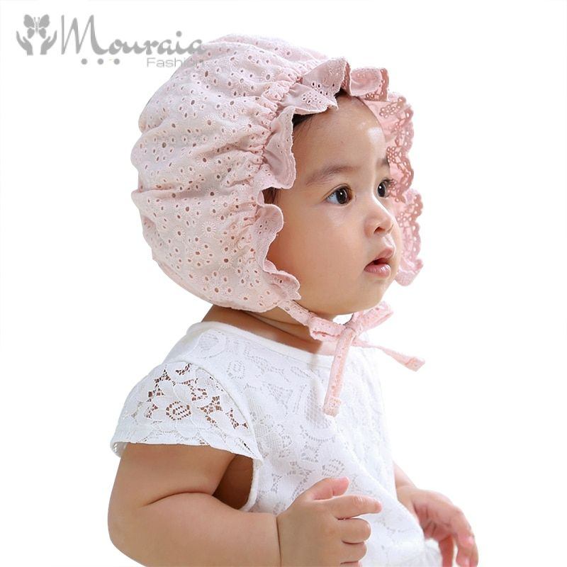 Fashion Lace Baby Cap for Girls Newborn Photography Props Kids Hat Summer Cotton Baby Bonnet Hat Infant Accessories White Pink