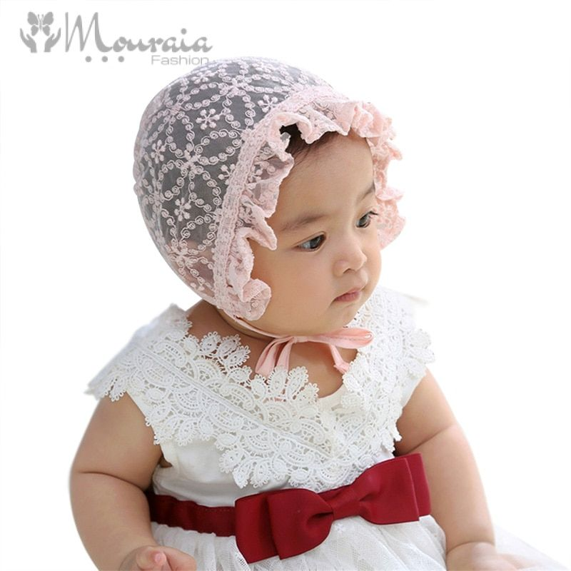 Sweet Lace Baby Girl Hat Newborn Fotografia White Pink Summer Infant Bonnet Baby Cap Accessories for New Born to 12 Months