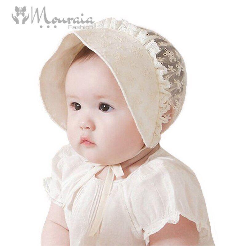 Summer Princess Baby Girl Hat Lace Flower Cotton Baby Bonnet Enfant Cap Baby Fotografia Photography Props for 6-18 Months