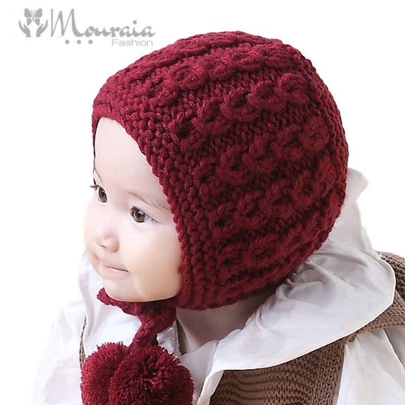 New Knit Baby Hat Winter Autumn Lace Up Baby Bonnet Enfant Girls Boys Warm Cap for 6-24 Months Beige/Wine Red