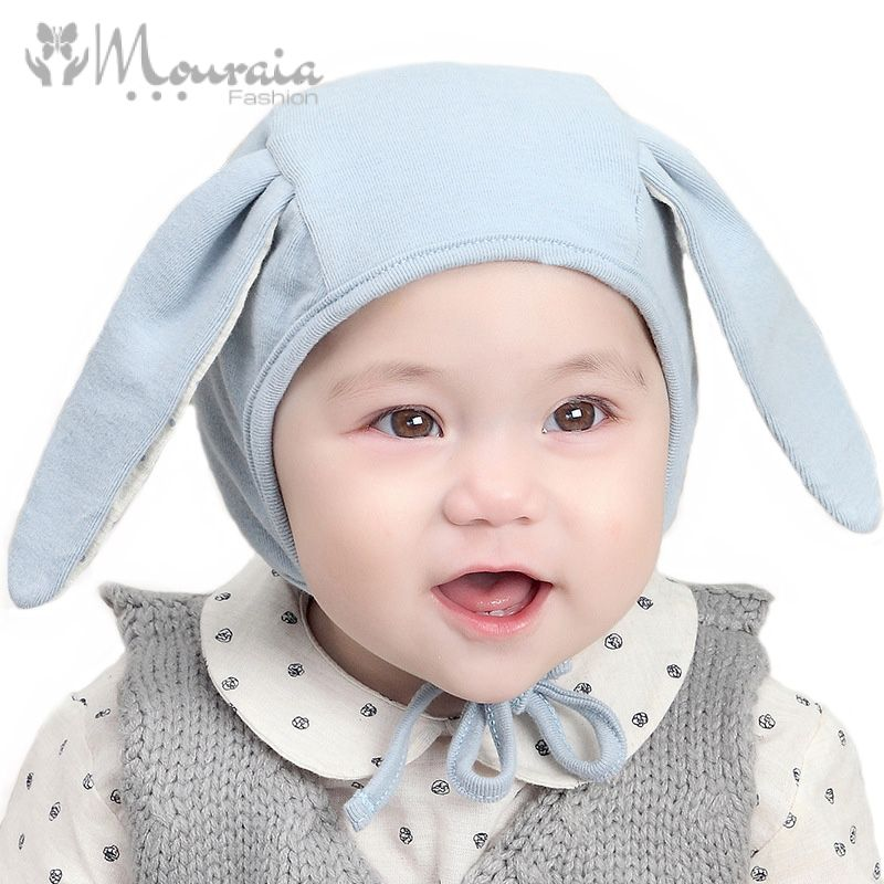 Cute Rabbit Baby Bonnet with Long Ears Cotton Newborn Hat Baby Accessories for 0-8 Months