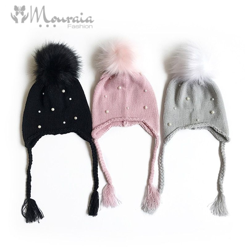 Fashion Pearls Baby Winter Hat Pom Pom Knitted Newborn Bonnet Enfant Baby Hats for Girls Cap 1 PC