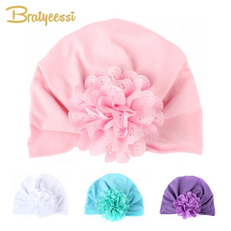Cute Baby Hat for Girls with Flower Candy Color Elastic Infant Cap Baby Photograph Props Accessories 1 PC