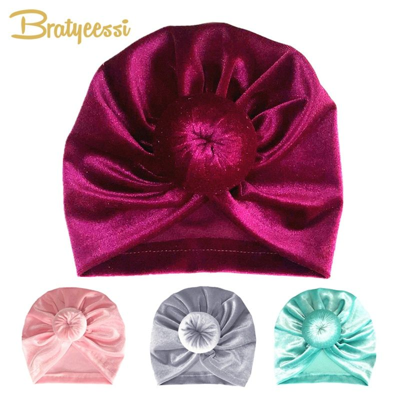 New Velvet Baby Hat for Girls Donut Winter Baby Beanie Cap Kids Turban Hats Multicolor Spring Baby Girl Hat Photography Props