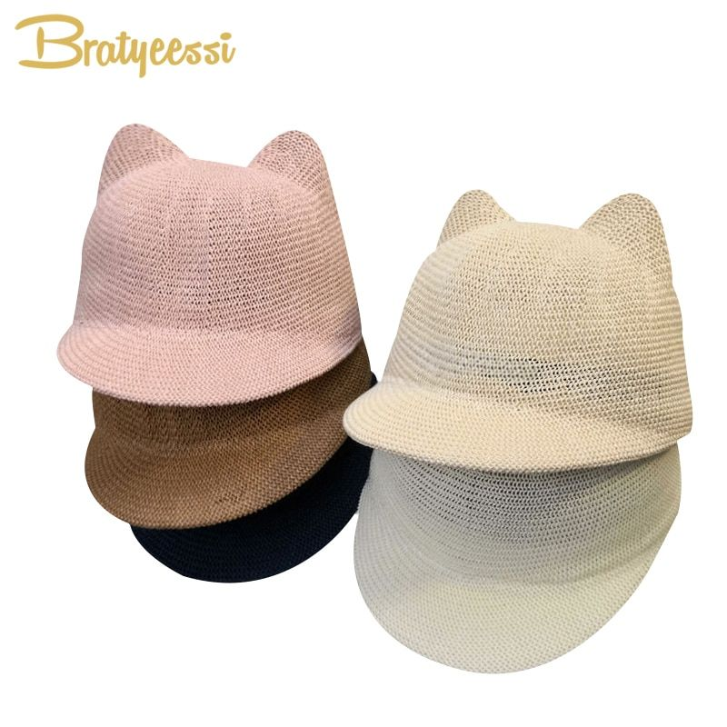 New Straw Baby Cap for Boy Girl Solid Summer Baby Sun Hat with Ears Beach Kids Snapback Hats Children Baseball Cap 1 PC