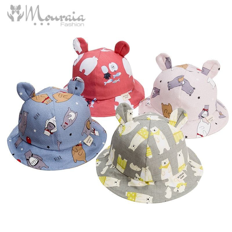 Cute Baby Hat for Girls Cartoon Baby Boy Hat with Ears Spring Autumn Children Cap Cotton Kids Hats Toddler Baby Muts 1PC