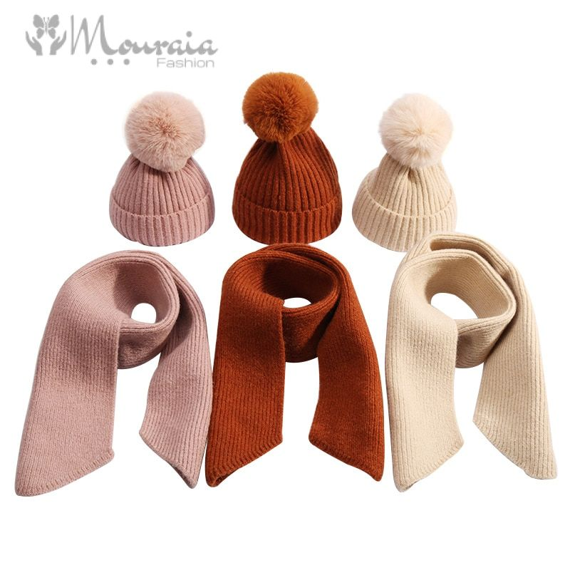 New Winter Baby Hat with Pompom Knitted Baby Beanie Hat and Scarf Set Thick Warm Snow Baby Cap Kids Accessories 9 Colors
