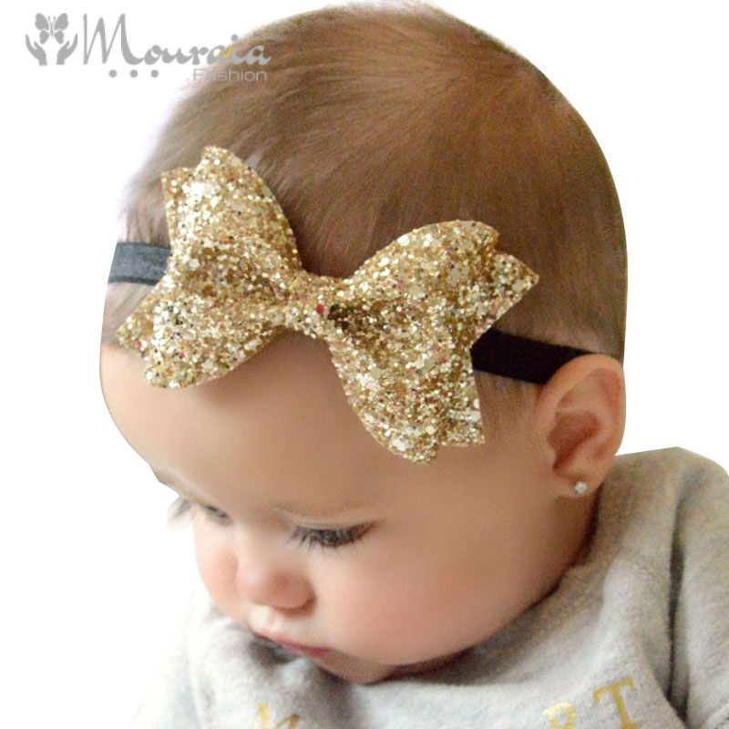Sparkling Hair Accessories Bow Baby Girl Headbands Elastic Multicolor Infant Baby Headband Birthday Party Headwear
