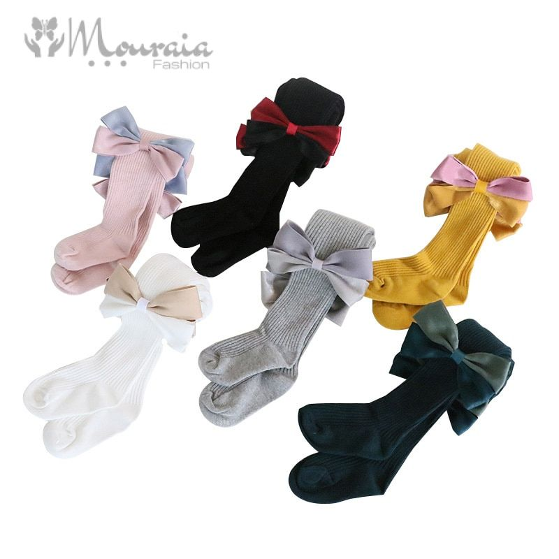 New Kids Tights for Girls Cotton Spring Autumn Big Bow Children Tights Kids Pantyhose Sweet Princess Baby Girls Tights 1PC