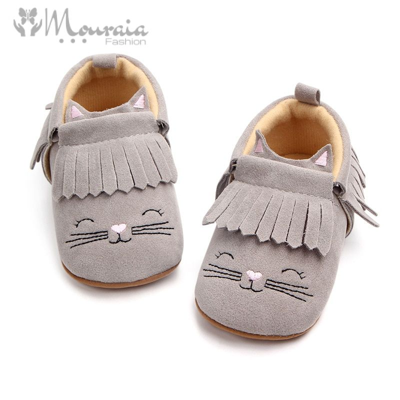 New Cat Fringe Baby Shoes First Walkers Nubuck Leather Baby Moccasins Toddler Shoes Solid Color Slip On Unisex Infant Shoes