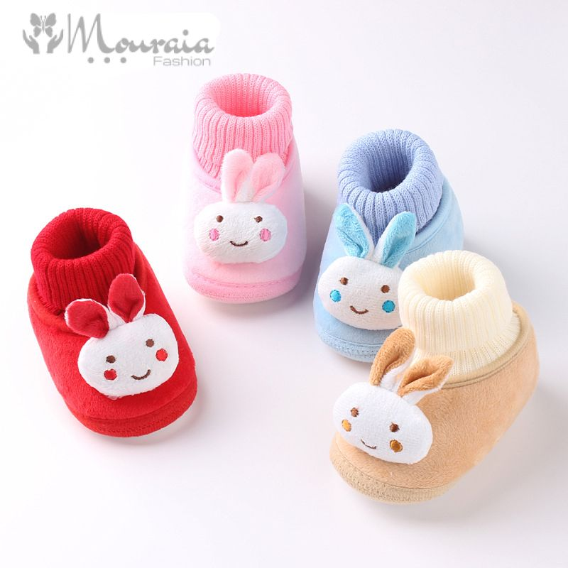 Cartoon Rabbit Baby Girl Shoes Fleece Lining Baby Shoes for Boys Anti Slip Winter Newborn Toddler Shoes