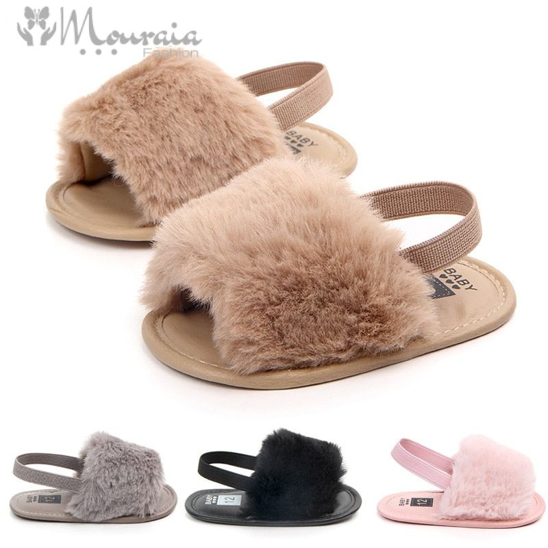 New Fashion Fur Baby Sandals Girls Anti Slip Elastic Band Baby Girl Sandals Soft Sole Summer Baby Girl Shoes Sandal 8 Colors