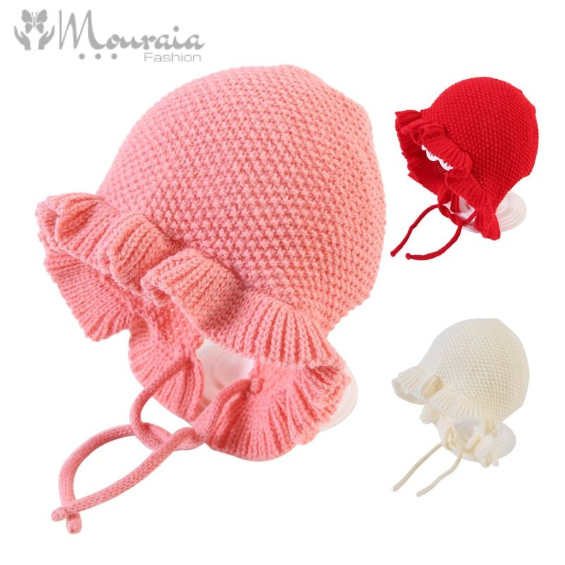Princess Winter Baby Hat for Girls Ruffles Cotton Knitted Bonnet Enfant Cap Kids Accessories Baby Girl Hat for 4-18 Months 1PC